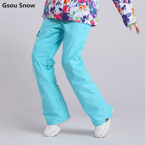 Gsou Snow outdoor clothing ski pants female windproof waterproof breathable board two colorful multicolor plate free shipping the new 2017 gsou snow ski suit man windproof and waterproof breathable double plate warm winter ski clothes