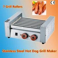 Aço inoxidável Grade de cachorro-Quente de Salsicha Assada Comercial Elétrica Máquina de Grelhar Sete Rolos Hotdog Mais Quente