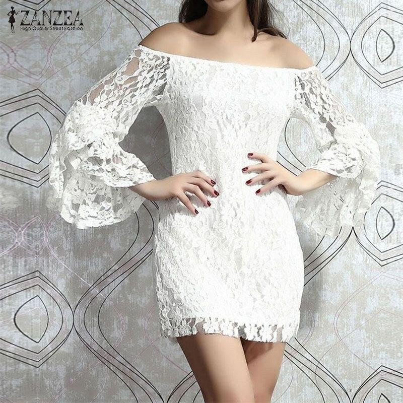 Summer Dress 2018 ZANZEA Women Sexy Lace Crochet Bodycon Mini Party Dresses Slash Neck Off Shoulder Flare Sleeve Slim Vestidos
