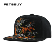 FETSBUY nueva hombres mujeres Sol de moda gorra de béisbol sombrero bordado  patrones de bambú Hip 7a048a1b3c7