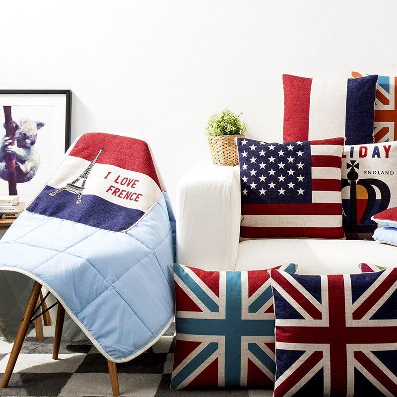 Union jack decorative pillows 45 45 linen cotton home for Decoration murale union jack