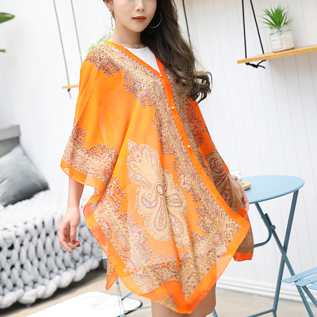 Fashion Style Women Scarf Chiffon Print Shawls Clothes for Lady Female Wrap Long Summer Scarf Fully Functional