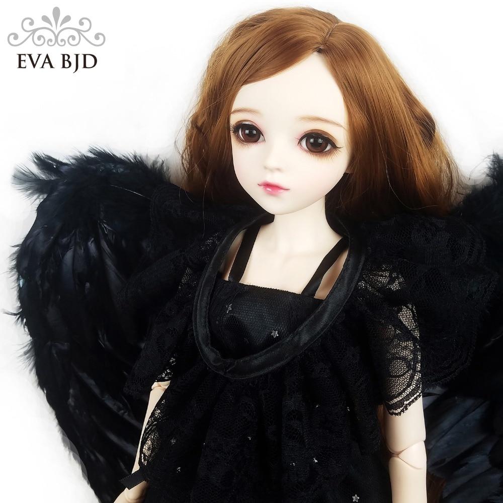 24 Full Set + Makeup 60cm Fallen Angel Imogen EVA BJD Doll + Glass Eyes + Black Handmade Paper Wing Demon Evil Girl Gift Toy fallen fallen glory hood black