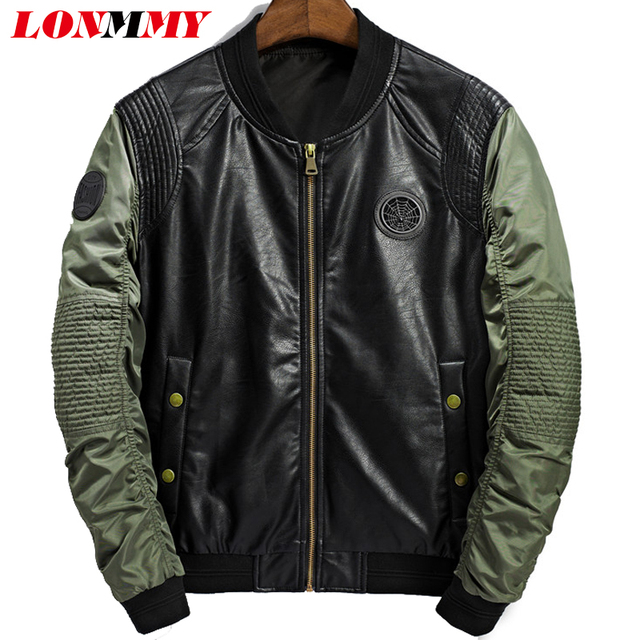 8f303ce90 US $34.98 15% OFF|LONMMY M 3XL Leather jacket men coats Suede PU Outerwear  Casual Bomber jacket men coat Military style army green 2018 Autumn-in ...