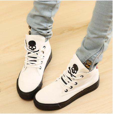 Spring 2017 High-Top Solid Color Punk Style Canvas Shoes Women Skull Muffin Bottom Casual - Oriental phoenix store