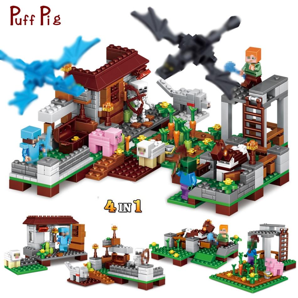 Bright 390pcs 4 In 1 Steve Village Castle Model Building Blocks Figures Compatible Minecraft Legoed City Diy Mini Bricks Child Gift Toy Good Heat Preservation Toys & Hobbies Blocks