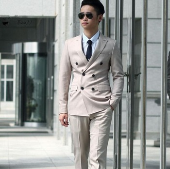 New Men's Slim Tuxedo Beach Suits Double-Breasted Bridegroom Suits Beige Wedding Party Formal Groom Dress Mens Wedding Suit