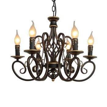 الأوروبي موضة خمر مصباح ثريا سقف أضواء الشموع تركيبات الإضاءة الحديد إضاءة المنزل E14 الكلاسيكية مصباح معلق