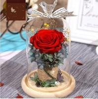 Eternal flower gift box, glass cover, dried flower, rose, Valentine's Day gift, birthday lover