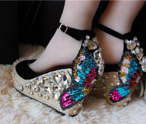701c594fe6fa 2019 Summer Rope Braided Wedge Sandal Open Toe Ankle Strap Colorful Crystal  Embellished Wedge Heel Sandals. sku  32814182404