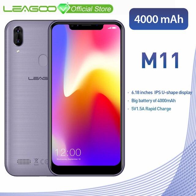 "LEAGOO M11 смартфон 6,18 ""4000 мАч 2 Гб оперативная память 16 Встроенная Android 8,1 MT6739 4 ядра сзади отпечатков пальцев быстрый заряд г мобильного телефона"