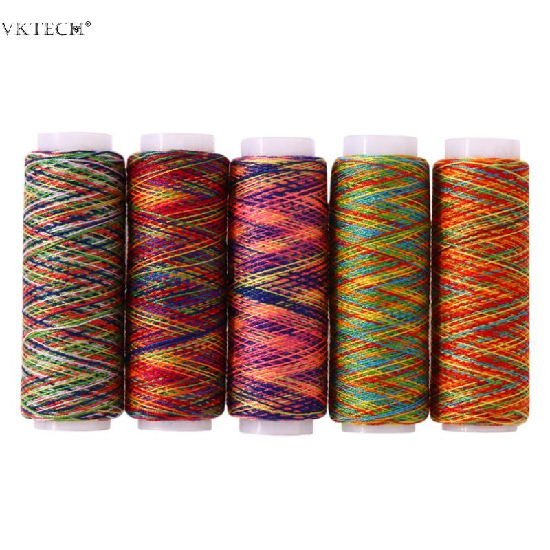 5 unids Color Arco Iris de Coser Hilo de Coser A Mano de Fibra de - Artes, artesanía y costura