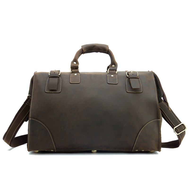 Carry on Luggage Travel Duffle Bags Genuine Leather Men Traveling Shoulder Brown Crazy Horse Handbags Messenger Crossbody Totes