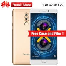 "Глобальный Huawei Honor 6X L22 3 ГБ Оперативная память 32 ГБ Встроенная память LTE смартфон 5.5 ""KIRIN 655 Octa Core Dual сзади камеры 12.0MP 1920×1080 3340 мАч"