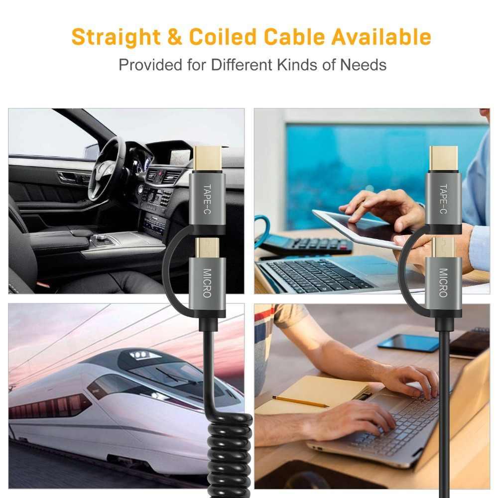 2-Pack Micro USB Kabel 2 in 1 USB Tipe C Kabel cepat Charger Kabel adaptor thunderbolt Kabel Data USB C USB-C multiport adapter