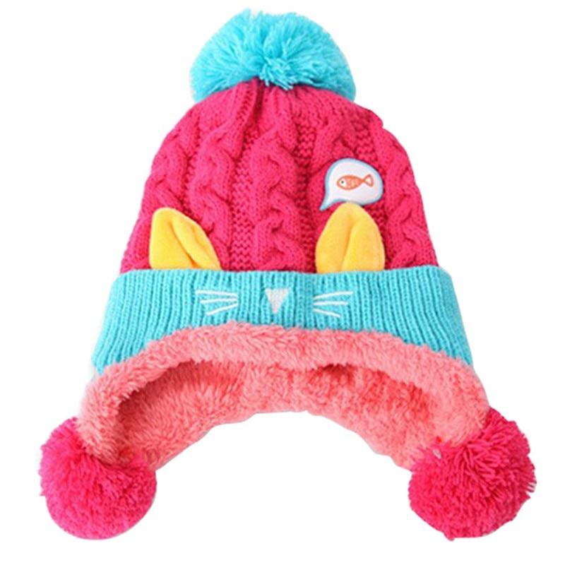Cute Toddler Baby Hat Cats Ear Rabbit Boys Girls Beanie Caps Crochet Knitted Winter Hats