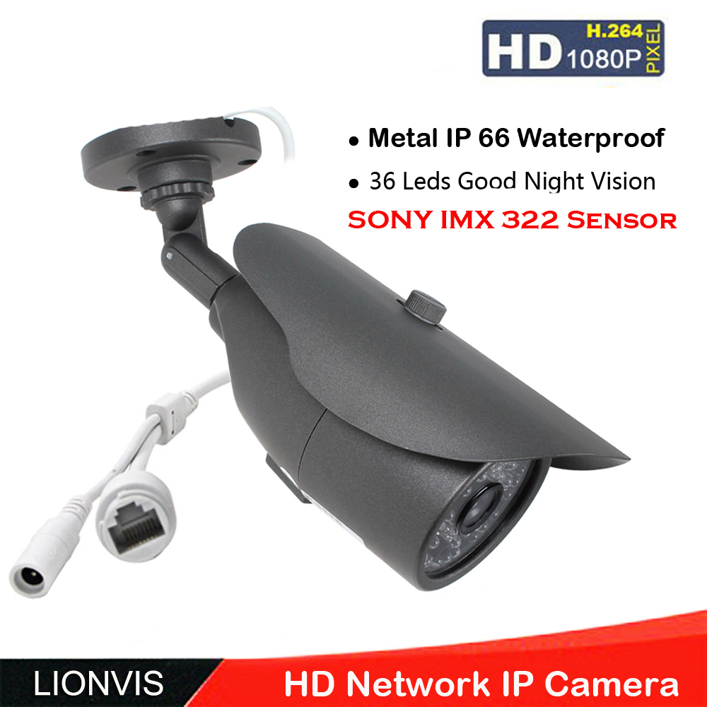 """imágenes para HD 1080 P Cámara de Red IP 2.0 MP ONVIF 1/2. 8 """"sony 322 sensor ip66 cámara de 36 ir led de visión nocturna de metal"""