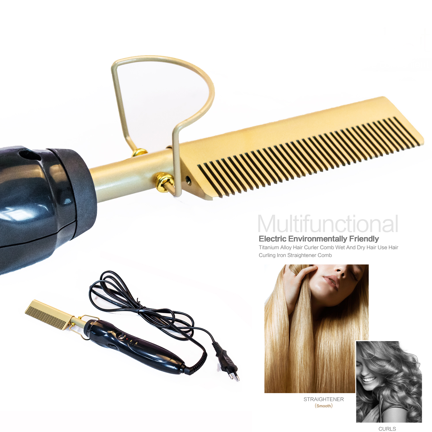 Professional Hair Straightener Flat Iron Hot Heating Comb Straightener Hair Smoothing Brush Corrugation Curling Iron Styler