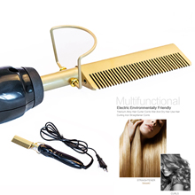 Professional Hair Straightener Flat Iron Hot Heating Comb Straightener Hair Smoothing Brush Corrugation Curling Iron hot comb