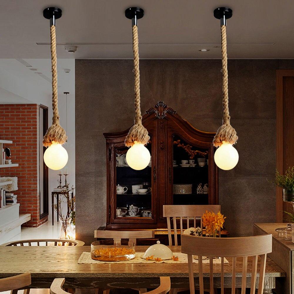 1M one head Rope pendant lights + Black ceiling plate vintage restaurant lamp dining room pendant lamps hemp rope light