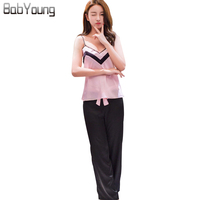 BabYoung 2018 Summer Camisole Pajamas Set Fashion Trousers Sexy Lace New Imitate Silk Home Suit Sleeveless