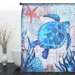 Image 2 - Biển In Chống Nước Màn Tắm Polyester Vải Màn Tắm Bạch Tuộc Có Thể Rửa Nhà Tắm Trang Trí Rèm Cửa Với 12 Móc