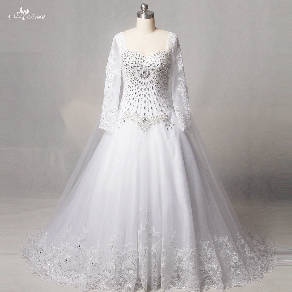 Wedding Dresses With Sweetheart Neckline And Sleeves: RSW1250 Real Pictures Yiaibridal Sweetheart Neckline Long