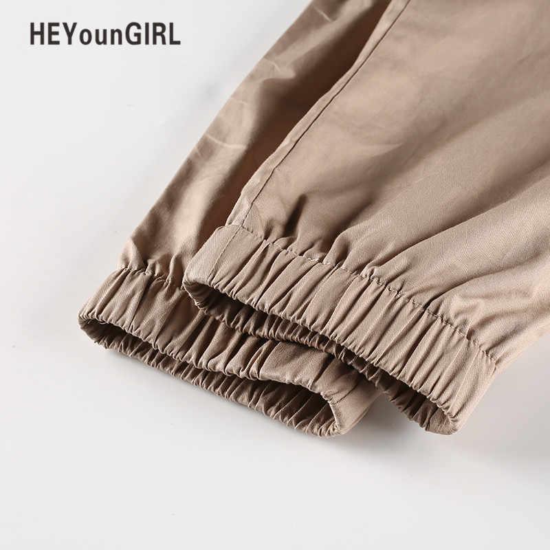 HEYounGIRL повседневные штаны женские шаровары брюки с высокой талией свободные карманы на молнии хлопковые однотонные осенне-зимние офисные брюки