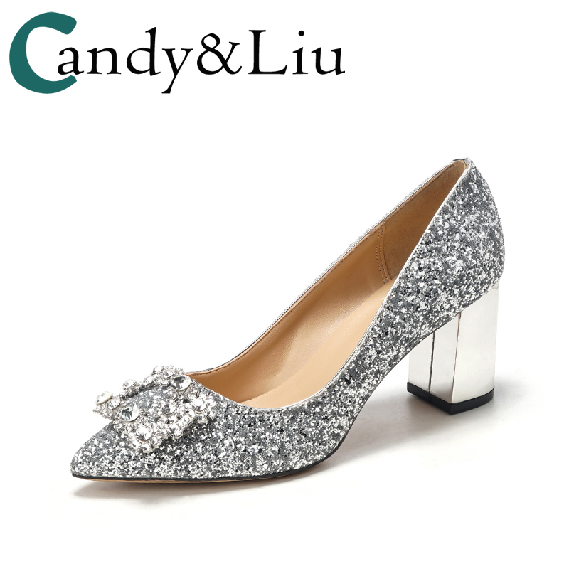 Thick Heel Wedding Shoes Female Crystal Bride Shoes Silver Sequins Pregnant Woman Bright Bridesmaids Square Buckled