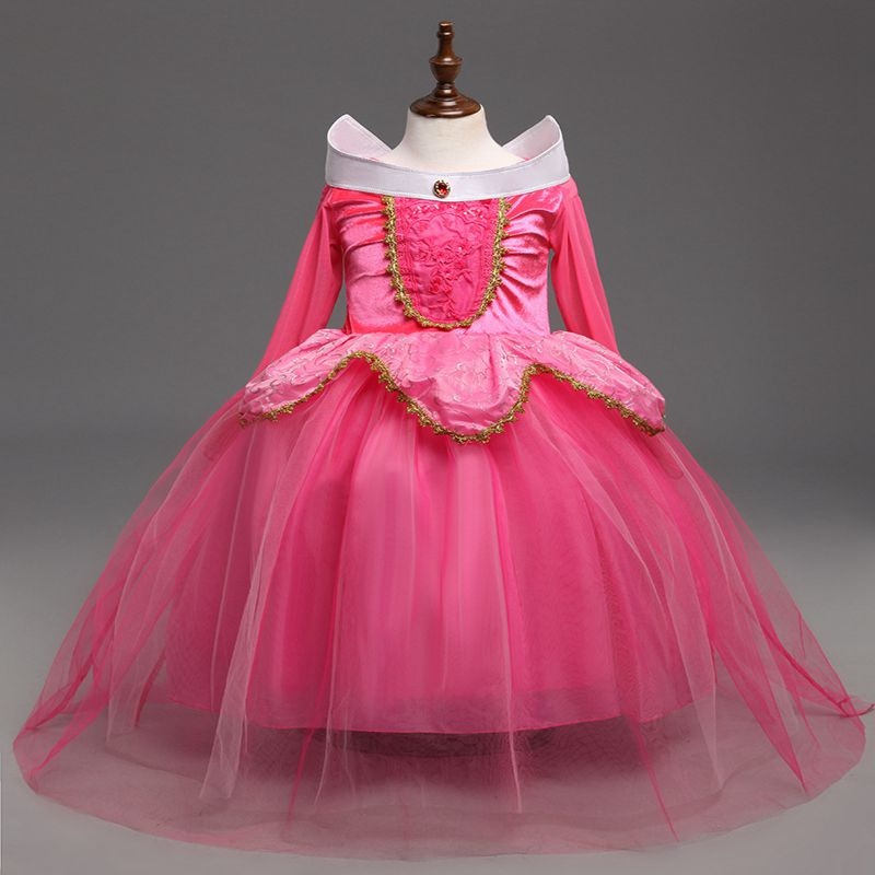 New Sleeping Beauty Aurora Princess Girl Dress Kids Cosplay Dress Up Halloween Costumes For Kids Girls Tulle Party Dress new spring fantasy girl princess sleeping beauty aurora dresses party kids costumes for girls fancy children girls cosplay dress