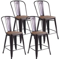 Set of 4 Rustic Metal Wood Bar Chairs Counter height Stools Set for Pub or Kitchen HW53837CP