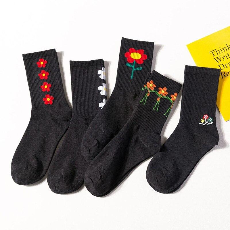 New Flower Cotton Socks For Women Harajuku Sunflower Happy Socks High Crew Socks Casual Black Color Sock Hosiery Female