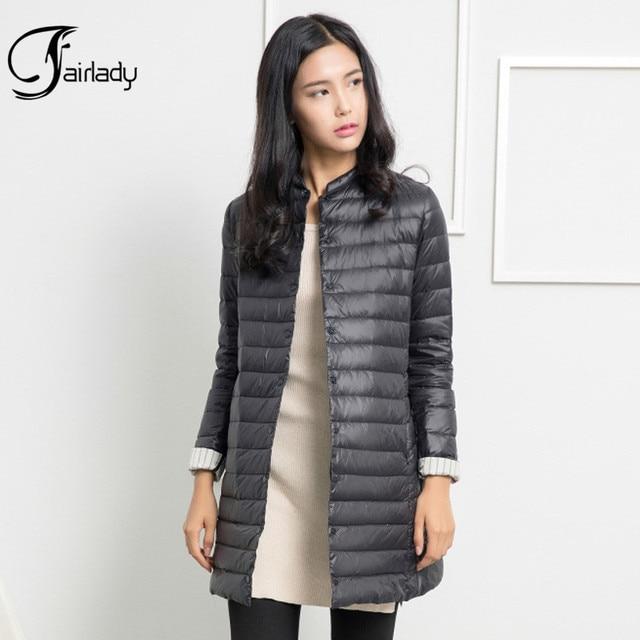 2016 Новый зимний Ultra Light вниз куртки 90% белая утка вниз пальто женщин средней длины тонкий пиджак верхняя одежда QY15122101
