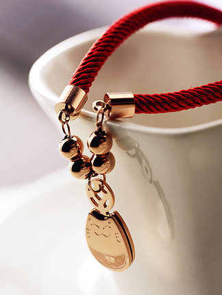 Red Rope Weaving Fortune Lucky Cat Bracelet Fine Jewelry Titanium Steel Rose Gold Color Valentine Gift Free Shipping No Fade
