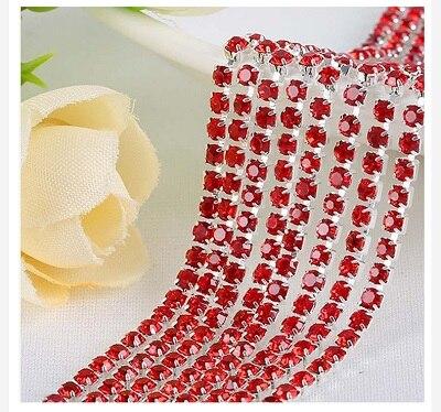 1 ярд/шт, 30 цветов, стеклянные хрустальные стразы на цепочке, Серебряное дно, Пришивные цепочки для рукоделия, украшения сумок для одежды - Цвет: Red