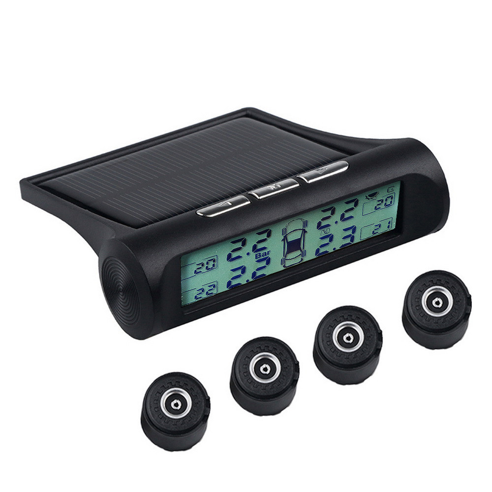 Real Time Solar Power Tire Pressure Monitoring System High Temperature Alarm White Backlight Car Wheel Air Security Monitor