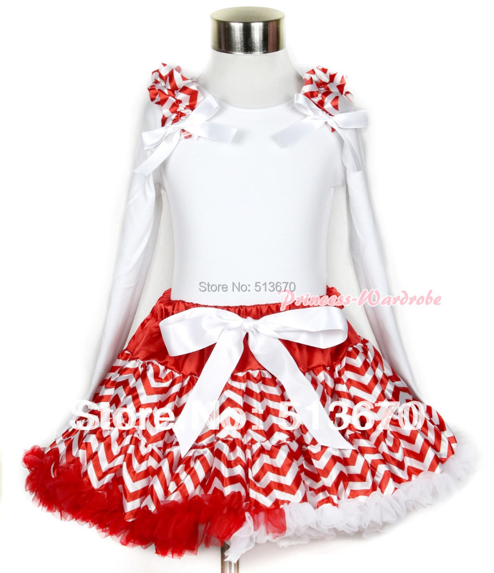 Xmas Red White Wave Pettiskirt with Matching White Long Sleeve Top with Red White Wave Ruffles & White Bow MAMW259 white
