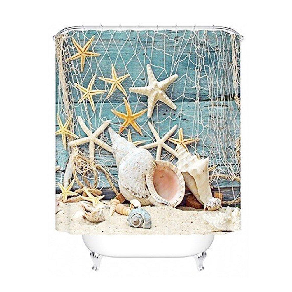 Seashell Conch Bath Shower Curtain Fishing Nets Beach