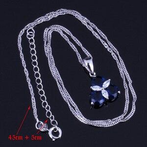 Image 2 - אלגנטי כחול מעוקב Zirconia לבן CZ 925 כסף סטרלינג תכשיטי סטי עגילי תליון שרשרת טבעת גודל 6 7 8 9 10 V0002