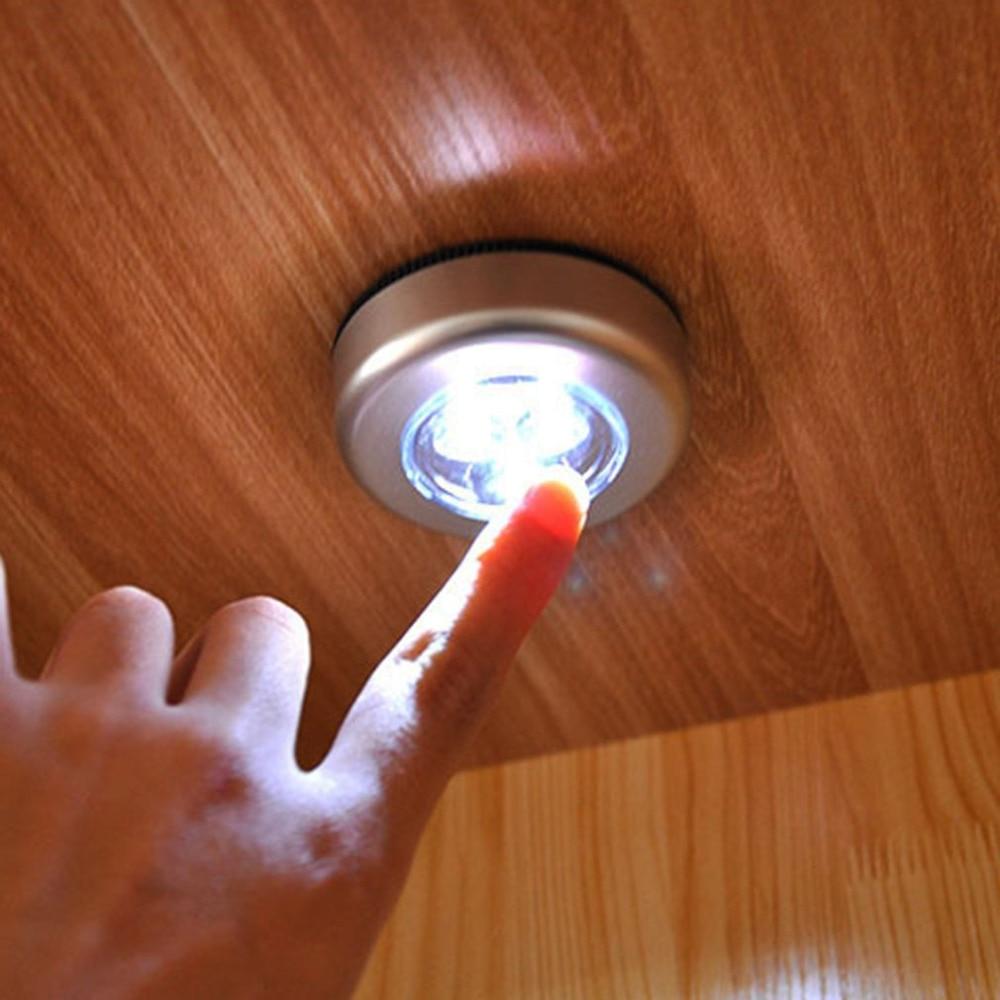 Stick Pat Lamp 3 LEDs Touch Lamp Ceiling Wall/Cabinet Light Mini LED Night Light Sensor Battery-powered Bedside Emergency Lamp