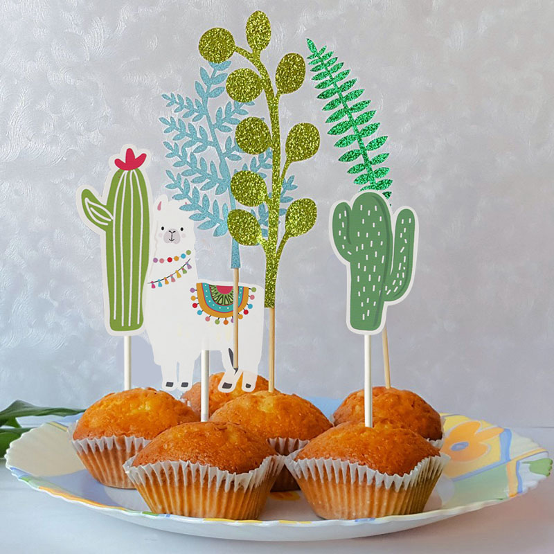 Astonishing Green Plant Cactus Llama Alpaca Cake Toppers Kids Jungle Birthday Funny Birthday Cards Online Alyptdamsfinfo