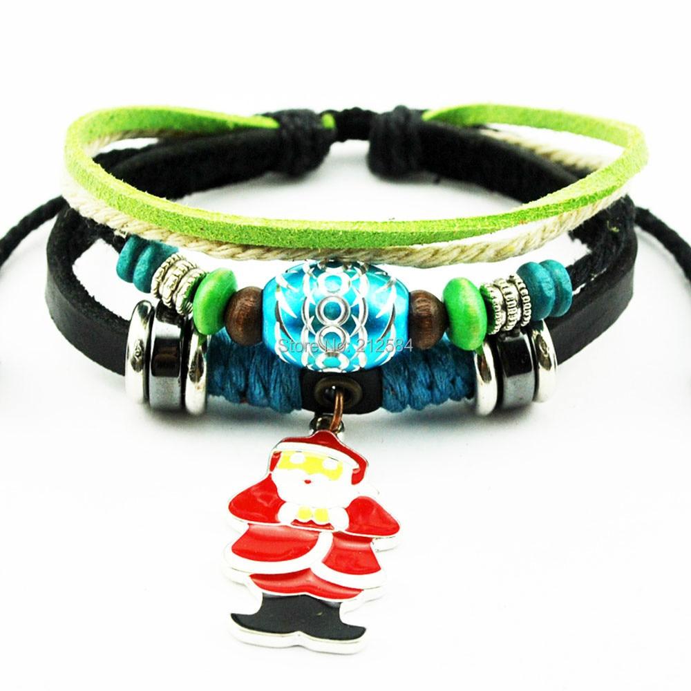 328823c11b8b A275 Navidad regalo Santa Claus cuero del cáñamo pulsera hombres mujeres  moda encanto pulsera de la pulsera envío gratis