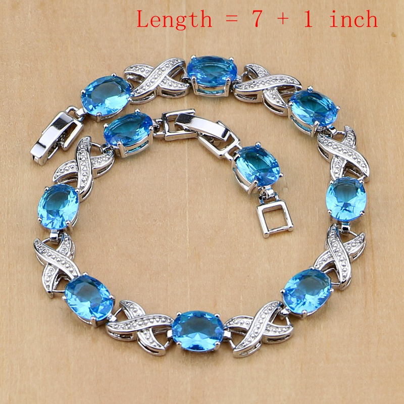 Image 2 - Silver 925 Jewelry Blue Birthstones Jewelry Sets For Women Wedding Earring/Pendant/Necklace/Rings/Braceletjewelry sets for womenjewelry setsbirthstone jewelry set -