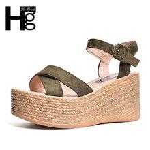 Hee Grand/2017 г. флоковые сандалии-гладиаторы на платформе Летние босоножки на танкетке повседневная обувь с пряжкой Chaussures женские пикантные Модная обувь на высоком каблуке XWZ4022