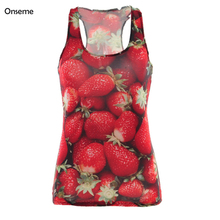 Onseme 2017 Vogue Informal Vibrant Strawberry Printed Camisoles Summer season Model Health Girls T-shirt Blusa Vests Tank Tops