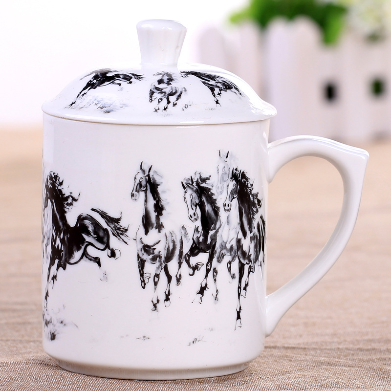 Chinese Health Care Ceramics Drinkware Mugs Tea Cup with Lid Flower Puer Hand Painted Teacup 375ml Coffee milk Creative Gift New