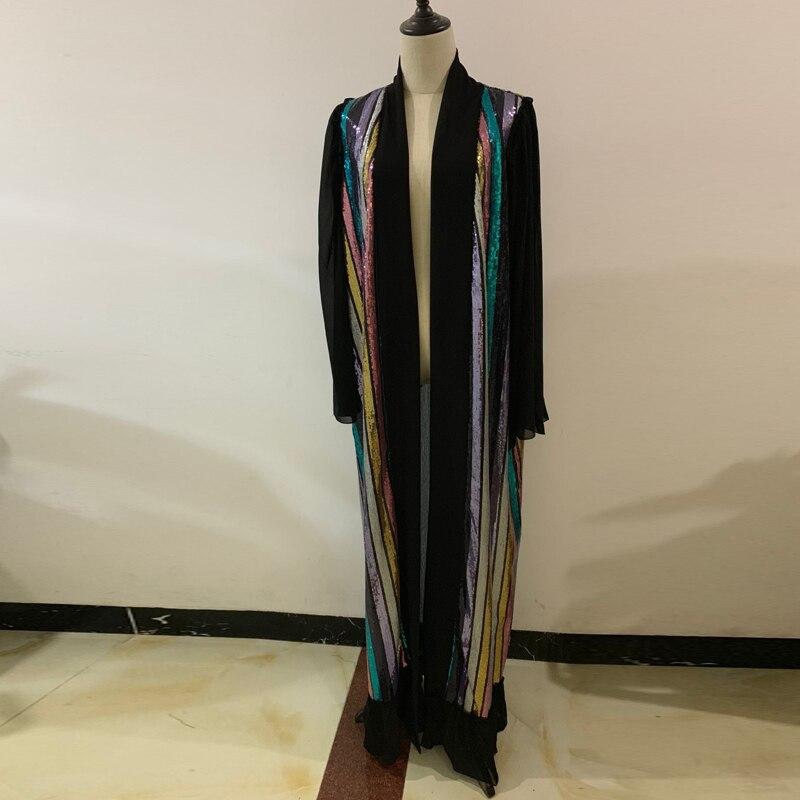 Open Abaya Sequin Kimono Cardigan Hijab Muslim Dress Turkey Robe Dubai Abayas For Women Ramadan Caftan Kaftan Islamic Clothing