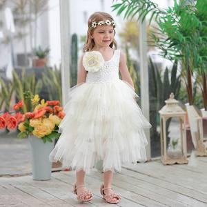 Image 2 - Été nouvelle fille robe en dentelle princesse fleur à plusieurs niveaux Tulle mi mollet robe de soleil pour fête de mariage enfants vêtements E17103