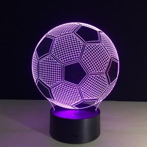Image 4 - Oprawa oświetleniowa 3d piłka nożna LED lampka nocna pilot RGB 7 zmiana kolorów kryty lampka nocna lampa iluzoryczna