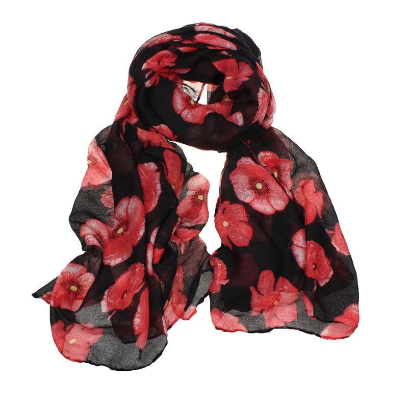 New Fashion Fashion Red Poppy Scarf Print Long Scarves Flower Beach Wrap Ladies Stole Shawl Drop Shipping#322
